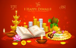 Happy Diwali. Illustration of Happy Diwali background with puja thali