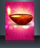 Happy diwali illustration of decorated diya brochure  Royalty Free Stock Photography