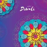 Happy Diwali. Indian celebration in paper cut style. Origami Beautiful Hindu festival of lights. Colorful Mandala. Vector illustration Royalty Free Stock Photography