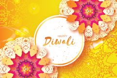 Happy Diwali. Indian celebration in paper cut style. Origami Beautiful Hindu festival of lights. Colorful Mandala. Yellow background. Vector illustration Royalty Free Stock Photo