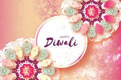 Happy Diwali. Indian celebration in paper cut style. Origami Beautiful Hindu festival of lights. Colorful Pastel Mandala. Vector illustration Royalty Free Stock Photos