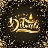 Happy Diwali Indian festival greeting card template. Vector Gold festive Lettering text Diwali with flame. luxury effect stock illustration
