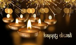 Happy Diwali Indian candle lights festival holiday vector greeting card sanskrit text Stock Photography