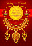 Happy Diwali jewelery promotion background with diya Royalty Free Stock Photos