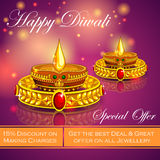 Happy Diwali jewelery promotion background with diya Royalty Free Stock Photo