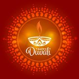 Happy Diwali with Diwali lamp sign in circle india art background vector design Royalty Free Stock Image