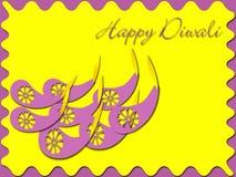 Happy Diwali. Diwali lamps on yellow background Stock Photo