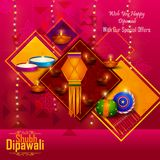 Happy Diwali light festival of India greeting advertisement sale banner background. In vector Royalty Free Stock Photography