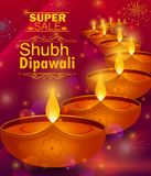Happy Diwali light festival of India greeting advertisement sale banner background. In vector Stock Photo