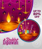 Happy Diwali light festival of India greeting advertisement sale banner background. In vector Royalty Free Stock Images