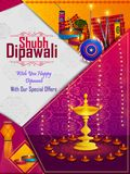 Happy Diwali light festival of India greeting advertisement sale banner background. In vector Stock Photos