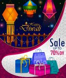 Happy Diwali light festival of India greeting advertisement sale banner background. In vector Stock Photography