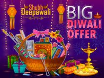 Happy Diwali light festival of India greeting advertisement sale banner background. In vector Royalty Free Stock Photos