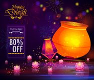 Happy Diwali light festival of India greeting advertisement sale banner background. In vector Stock Image