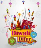 Happy Diwali light festival of India greeting advertisement sale banner background. In vector Stock Images