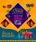 Happy Diwali light festival of India greeting advertisement sale banner background. In vector Royalty Free Stock Photo