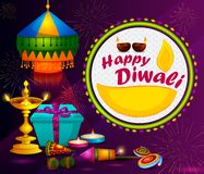 Happy Diwali light festival of India greeting background. In vector Royalty Free Stock Photo