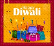 Happy Diwali light festival of India greeting background. In vector Stock Images