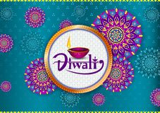 Happy Diwali light festival of India greeting background. In vector