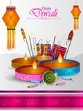 Happy Diwali light festival of India greeting background. In vector royalty free illustration