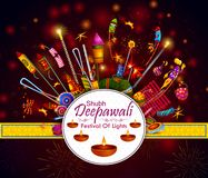 Happy Diwali light festival of India greeting background. In vector Stock Photos
