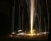 Happy Diwali long exposure artistic shots of fire crackers Royalty Free Stock Photography