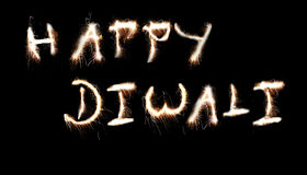 Happy Diwali. Message created using sparklers fireworks Royalty Free Stock Photo