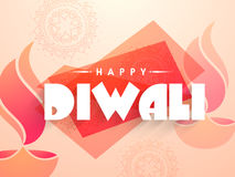 Happy Diwali Poster, Banner or Flyer design. Creative festive background decorated with oil lamps (Diya) and floral design, Beautiful Poster, Banner or Flyer Stock Images