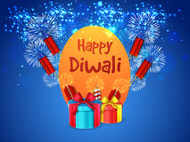 Happy Diwali Poster, Banner or Flyer design. Sparkling blue background with exploded firecrackers (Rockets) and wrapped gift boxes, Creative Poster, Banner or Stock Photos