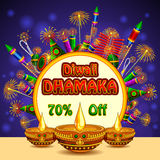Happy Diwali promotion background with colorful firecracker and diya Stock Photography