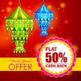 Happy Diwali promotion background with kandil hanging lamp Royalty Free Stock Photos