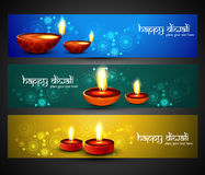 Happy diwali religious stylish colorful three set  Stock Photos