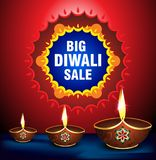 Happy diwali sale background witth deepak Royalty Free Stock Photos