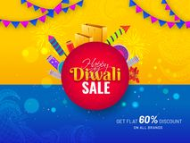 Free Happy Diwali Sale Banner Or Poster Design With Firecrackers, Shopping Bag. Royalty Free Stock Photography - 159434157
