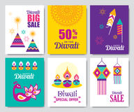 Happy Diwali. Set of Diwali Hindu festival sale posters and greeting cards Royalty Free Stock Photos