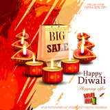 Happy Diwali shopping sale offer with decorated diya Royalty Free Stock Photography