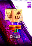 Happy Diwali shopping sale offer with decorated diya Stock Photos