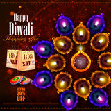 Happy Diwali shopping sale offer with decorated diya Stock Photo
