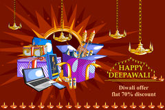 Happy Diwali shopping sale offer decorated diya for India festival Stock Photography