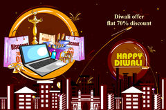 Happy Diwali shopping sale offer decorated diya for India festival. Easy to edit vector illustration of Happy Diwali shopping sale offer with decorated diya for Stock Image