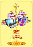 Happy Diwali shopping sale offer decorated diya for India festival Stock Images