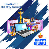 Happy Diwali shopping sale offer decorated diya for India festival Stock Photos