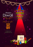Happy Diwali shopping sale offer with hanging lamp Royalty Free Stock Images