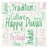 Happy Diwali in square shape word cloud. Wordcloud made from letters and words only