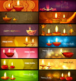 Happy diwali stylish bright colorful collection headers set Stock Photo