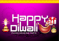 Happy diwali text background with cracker & gifts Stock Image