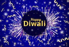 Happy Diwali - traditional Indian festival colorful background w. Ith firework,  gold text and ribbons. Vector illustration Royalty Free Stock Images