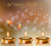 Happy Diwali vector background with festive candles Royalty Free Stock Images