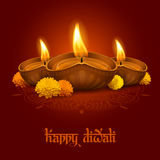 Happy Diwali. Vector illustration of burning oil lamp diya on Diwali Holiday, ancient Hindu festival of lights, decorated with flowers on ornate dark red Royalty Free Stock Photo