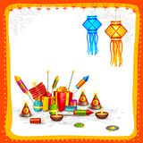 Happy Diwali. Vector illustration of Happy Diwali card with firecracker Stock Images